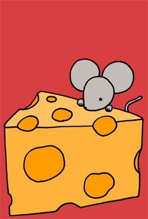 ねずみイラスト年賀状 シンプルでかわいいネズミとチーズ レッド