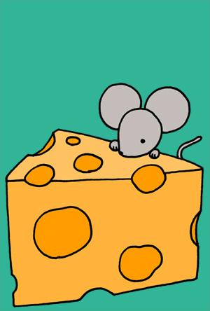 ねずみイラスト年賀状 シンプルでかわいいネズミとチーズ グリーン