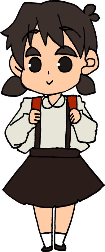 制服の小学生の女の子のイラストフリー素材