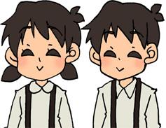 笑顔の男の子と女の子のイラスト素材 兄妹 姉弟
