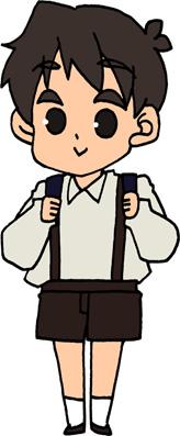 制服の小学生の男の子のイラストフリー素材