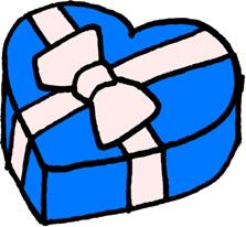 ハートのプレゼントボックス クリスマス バレンタインデー 水色