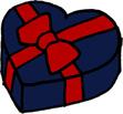 ハートのプレゼントボックス クリスマス バレンタインデー 紺色