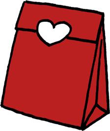 プレゼントバッグ(プレゼントボックス)袋のイラストフリー素材 赤