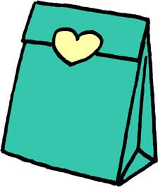 プレゼントバッグ(プレゼントボックス)袋のイラストフリー素材 エメラルドグリーン