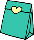 プレゼントバッグ(プレゼントボックス)袋のイラストフリー素材 エメラルドクリーン
