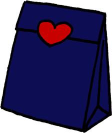 プレゼントバッグ(プレゼントボックス)袋のイラストフリー素材 紺色