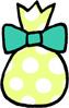 水玉模様のプレゼントバッグ(プレゼントボックス)のイラストフリー素材 バレンタイン クリスマスプレゼント 黄色