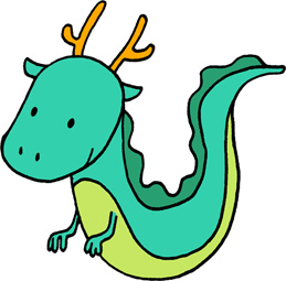 かわいい龍のイラストフリー素材 辰年年賀状 グリーンの龍