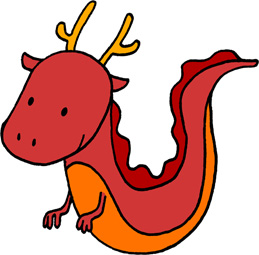 かわいい龍のイラストフリー素材 辰年年賀状 赤色の龍