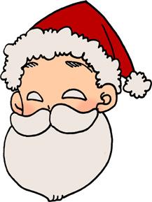 かわいいサンタクロースの顔のイラストフリー素材 クリスマス
