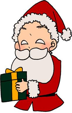 プレゼントを配るサンタクロースのイラスト素材 クリスマス