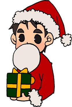 サンタクロースのコスプレをした男性のイラストフリー素材 お父さん クリスマス