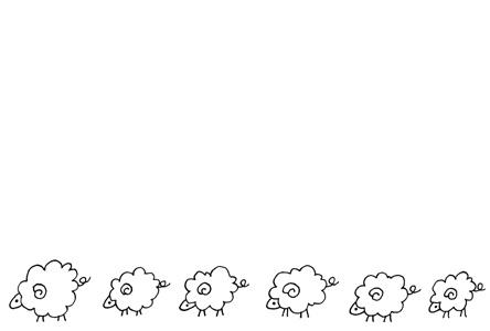 シンプル羊のイラスト年賀状 メッセージスペース