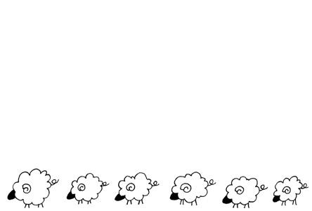 シンプル黒い羊のイラスト年賀状素材