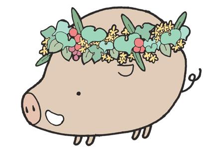 【イノシシ】花冠のかわいい猪年賀状【亥年】