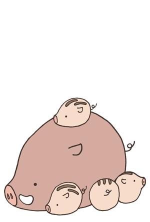 シンプル猪親子の亥年年賀状 年賀状フリー素材