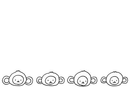 モノクロシンプル猿の年賀状イラスト素材
