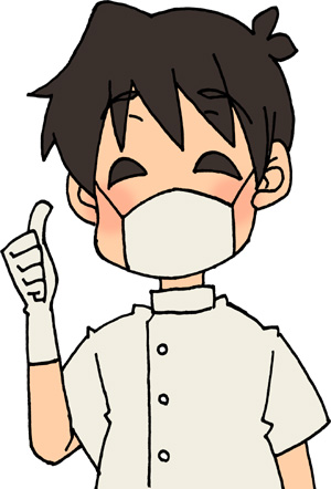 goodサインで親指を立てる歯科医師(男性)のイラストフリー素材 歯医者さん