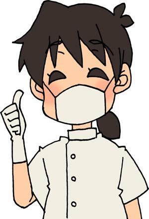 goodサインで親指を立てる歯科医師(女性)のイラストフリー素材 歯医者さん