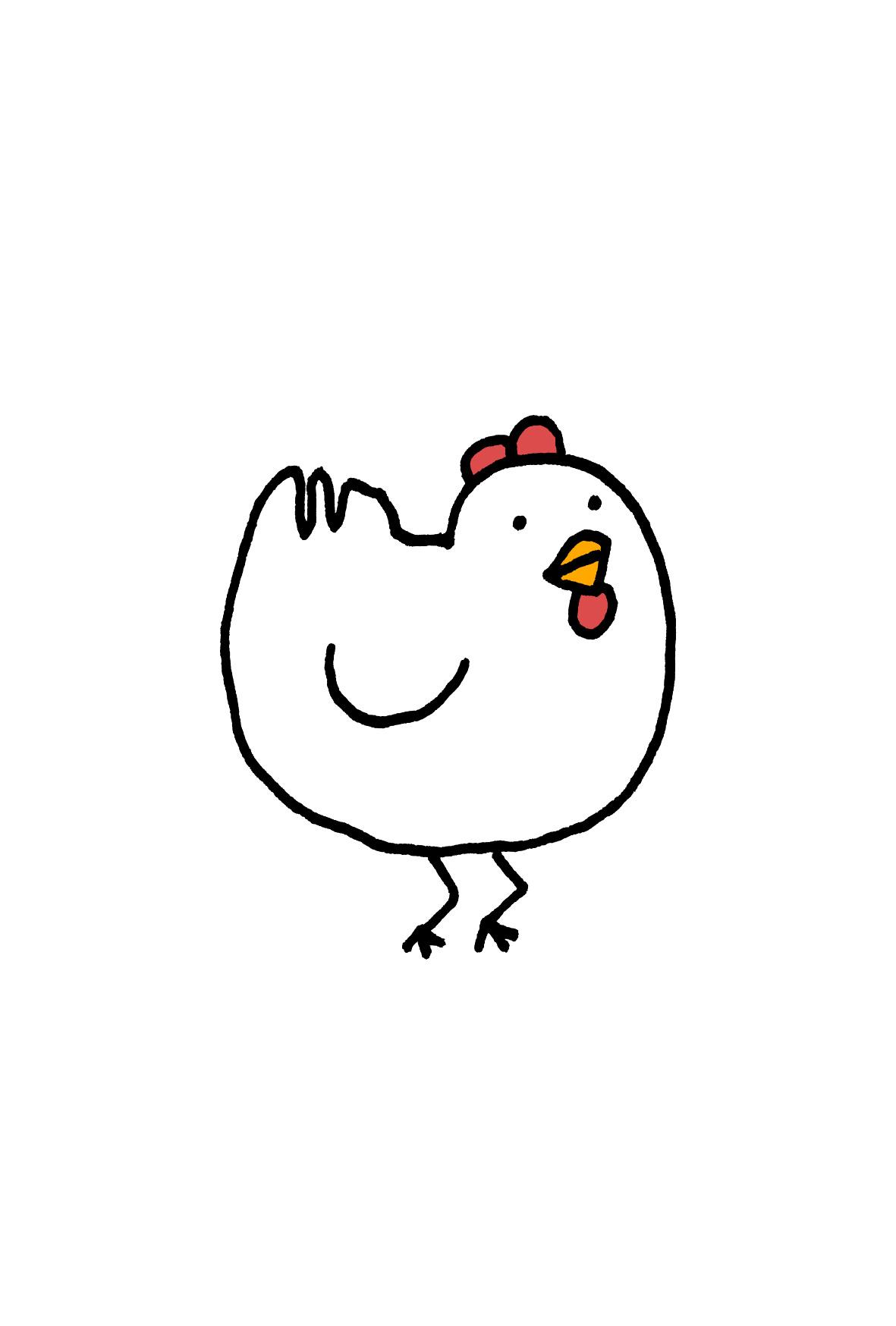 脚の向きがおかしいかわいい鶏年賀状イラスト素材【酉年】