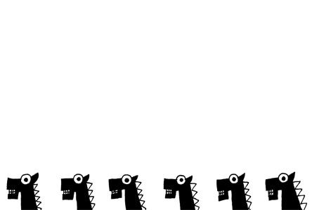 シンプルモノクロ黒い馬のイラスト年賀状素材