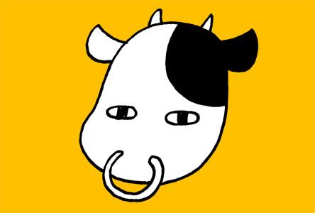 シンプルシュールな牛の丑年年賀状イラスト