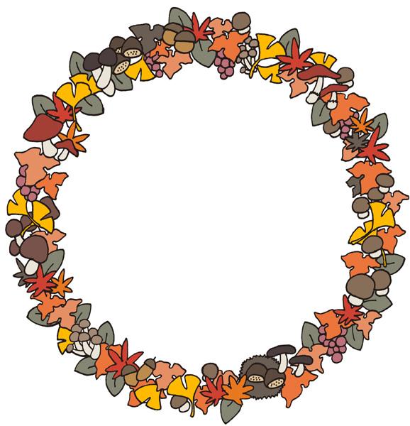 秋の枠・フレームイラストフリー素材 もみじ 落ち葉 どんぐり きのこ イチョウ 植物