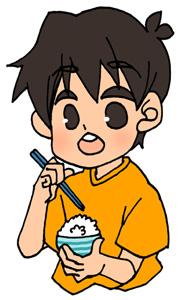 ご飯をお箸で食べてる男の子のフリーイラスト素材