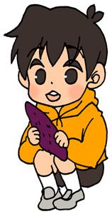 芋掘りをする男の子のイラストフリー素材 秋の味覚 サツマイモ