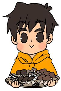 キノコ狩りをした男の子のイラストフリー素材 秋の味覚 きのこ