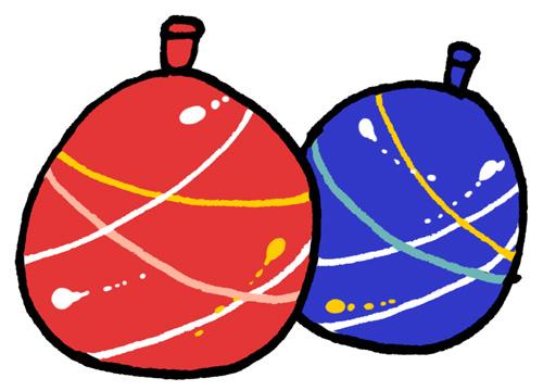 水風船ヨーヨーのイラストフリー素材 夏祭り