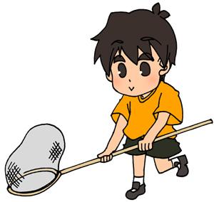 虫取りをしている少年(男の子)のイラストフリー素材 夏休み