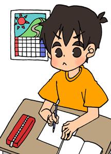 夏休みの宿題に追われる男の子のイラストフリー素材