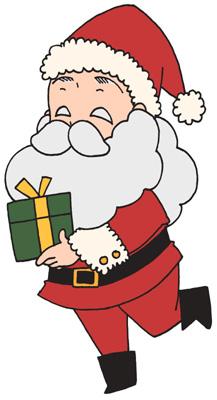 プレゼントを運ぶサンタクロースのイラストフリー素材 クリスマス