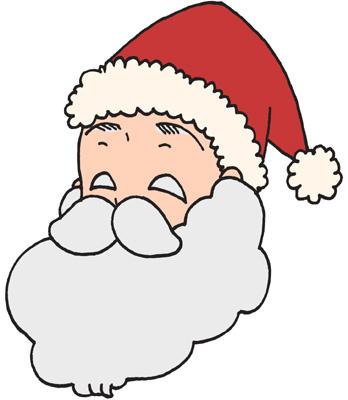 顔アップのサンタクロースのイラストフリー素材 クリスマス