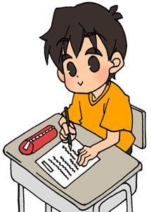 勉強・宿題をする男の子のフリーイラスト素材