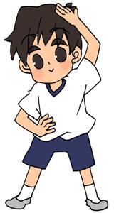 準備体操をする男の子のフリーイラスト素材 準備運動
