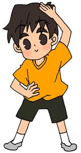 ラジオ体操をする男の子のフリーイラスト素材 夏休み