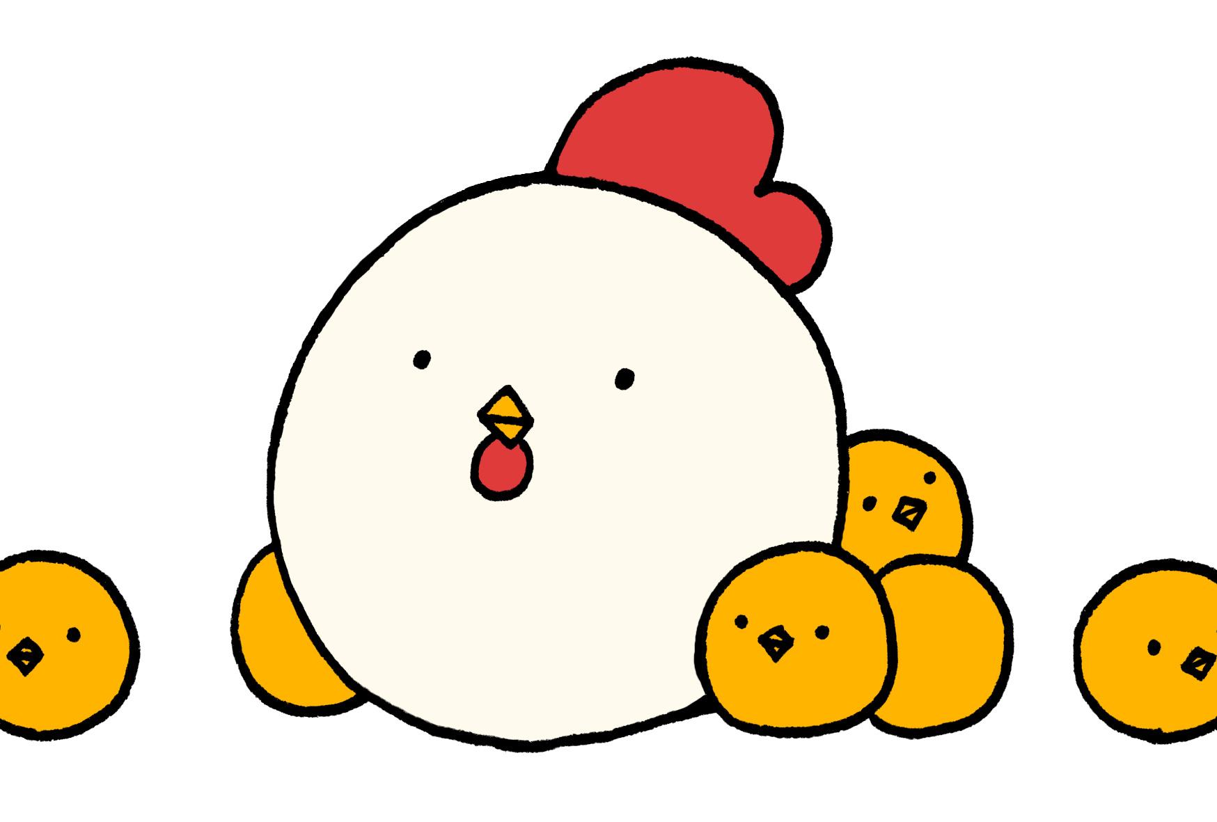 鶏とひよこのシンプル可愛い年賀状 酉年 横型
