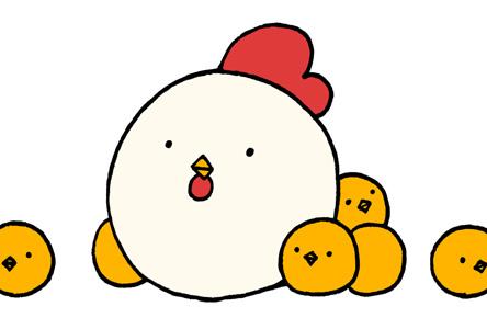 シンプルかわいい鶏とひよこの年賀状 酉年 横型デザイン