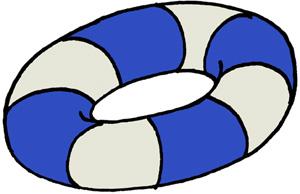 青ストライプの浮き輪のイラストフリー素材 夏のイラスト
