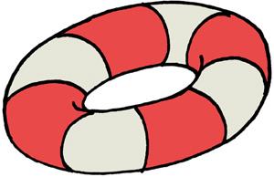 赤ストライプの浮き輪のイラストフリー素材 夏のイラスト