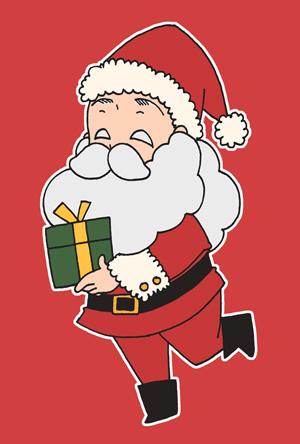 サンタクロースのクリスマスカードイラストフリー素材 赤背景