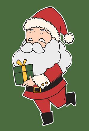 サンタクロースのクリスマスカードフリーイラスト素材 緑背景