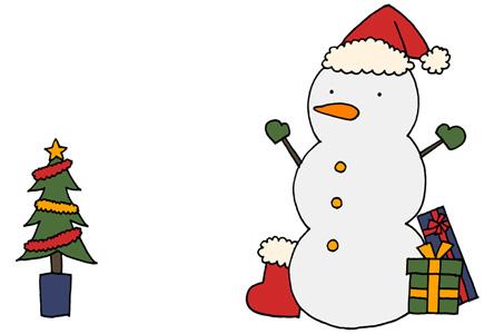 手描きクリスマスカードイラストフリー素材 雪だるまとプレゼント クリスマスツリー