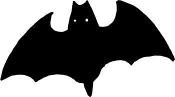 コウモリのモノクロ白黒無料イラスト素材