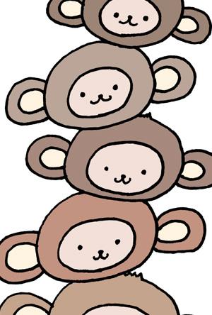申年の可愛いイラスト年賀状 重なった猿の無料イラスト素材