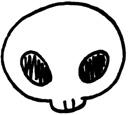 頭蓋骨の可愛い手書きイラストフリー素材 ガイコツ ハロウィン