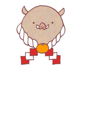 シンプルな亥年用年賀状イラストフリー素材 猪 いのしし